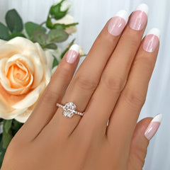 2.25 ctw Oval Accented Ring - 10k Solid Rose Gold