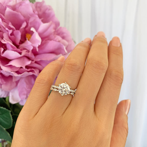 2.25 ctw 6 Prong Round Accented Art Deco Solitaire Set