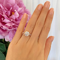 3.25 ctw Round Accented Solitaire Art Deco Set - Rose GP