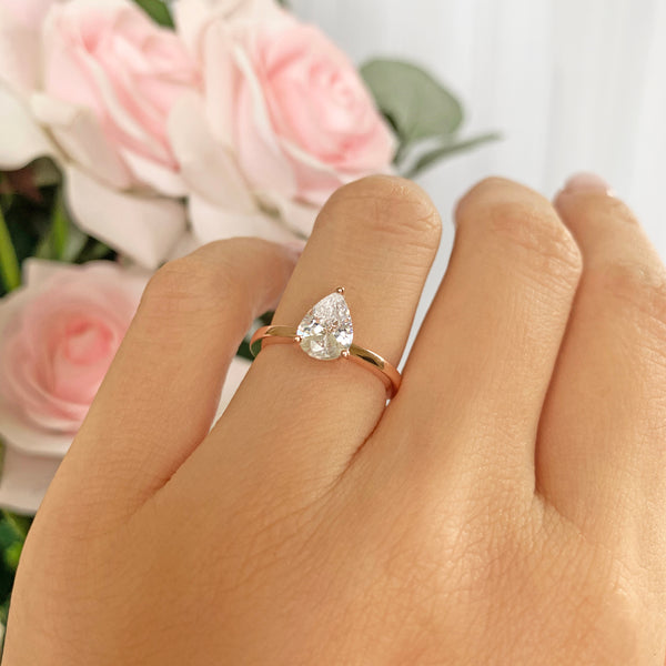 1.2 ct Pear Solitaire Ring - Rose GP