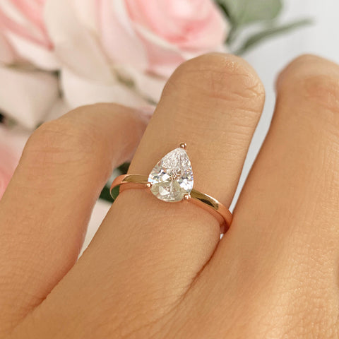 1 ctw Pear Halo Ring