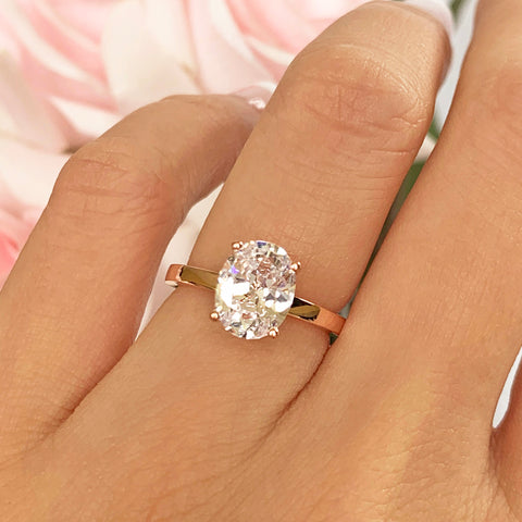 2 ct Cushion Cut Half Eternity Solitaire Set - Rose GP