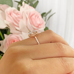 3.25 ctw Oval Halo Ring - Rose GP