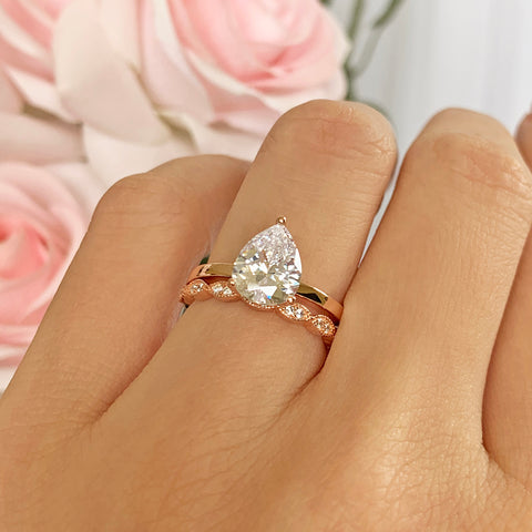 10 ctw Hollywood Pear Halo Ring - 40% Final Sale