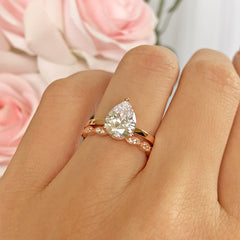 2 ct Art Deco Pear Solitaire Set- Rose GP