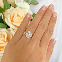 3.25 ctw Oval Halo Half Eternity Set- Rose GP