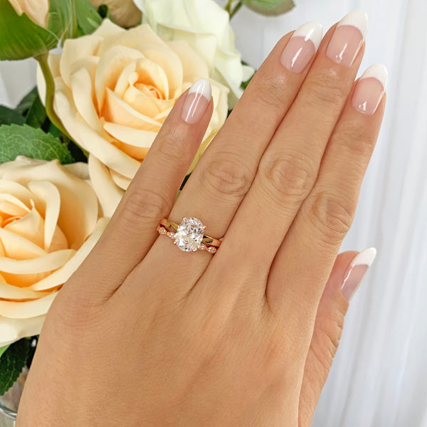 2 ct Art Deco Oval Solitaire Set - Rose GP