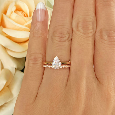 2.25 ctw Cushion Cut Accented Solitaire Set - Rose GP