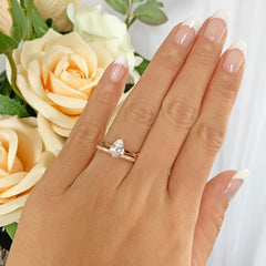 1.2 ct Pear Solitaire Bridal Set - Rose GP
