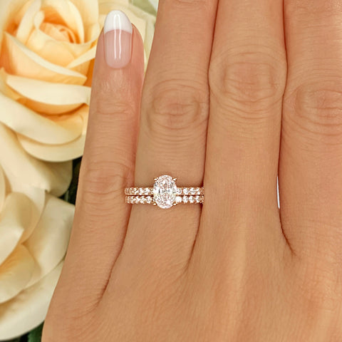 3 ct 4 Prong Stacking Solitaire Set - Rose GP