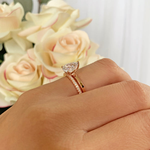 2 ct Pear Solitaire Half Eternity Set - Rose GP