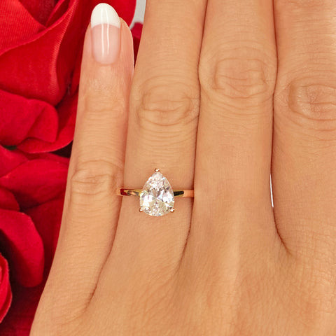 3 ct Pear Solitaire Ring - Rose GP