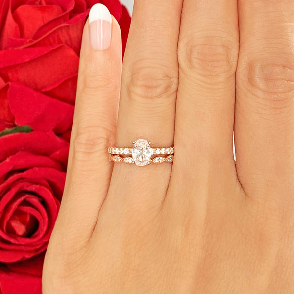 3/4 ctw Art Deco Oval Accented Solitaire Set - Rose GP