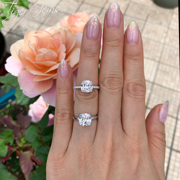 2.25 ctw Cushion Cut Accented Solitaire Ring