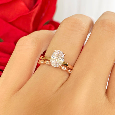 2 ct Floral Engraved Solitaire - 14k White Gold, Sz 7-7.5