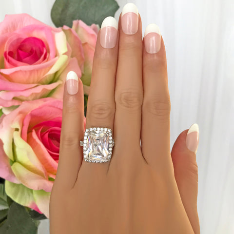 4 ctw Radiant Channel Halo Ring - 40% Final Sale, Sz 7.75
