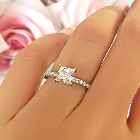 2.25 ctw Princess Accented Solitaire Ring