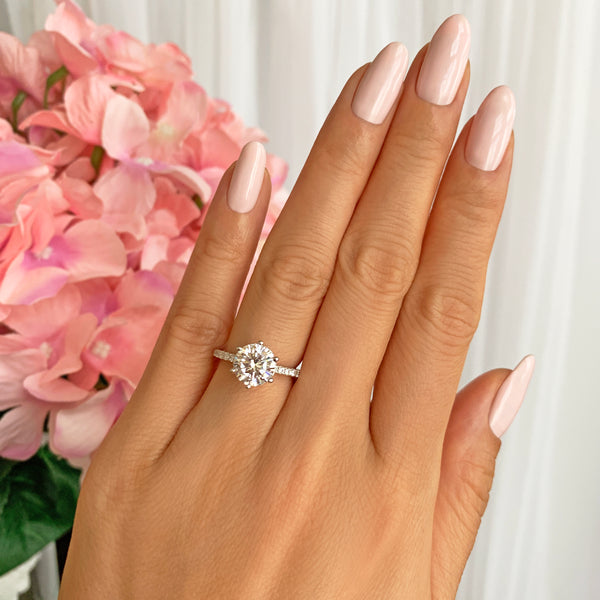 2.25 ctw 6 Prong Round Accented Solitaire Ring - 10k Solid White Gold