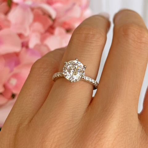 3 ct 4 Prong V Style Solitaire Ring - 10k Solid Yellow Gold