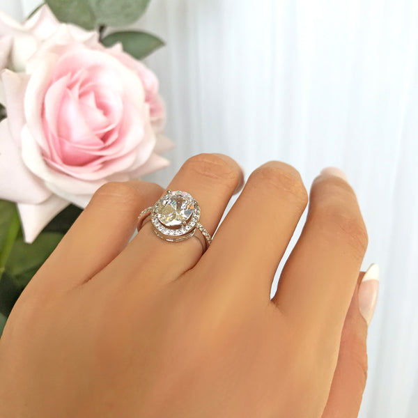 3 ctw Oval Halo Filigree Ring - 40% Final Sale