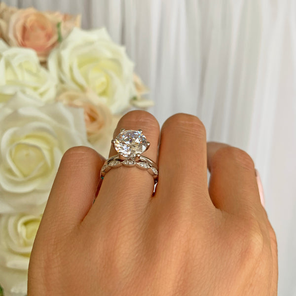 4 ct Art Deco Classic V Style 6 Prong Solitaire Set - 40% Final Sale