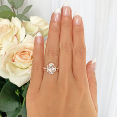3.25 ctw Art Deco Oval Halo Set- Rose GP