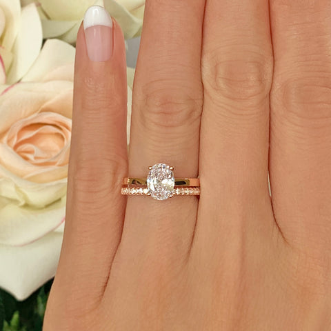 2.25 ctw Oval Accented Ring - 10k Solid Rose Gold, Sz 4-9