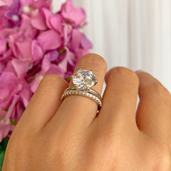 4 ct Half Eternity Classic V Style 6 Prong Solitaire Set - 40% Final Sale