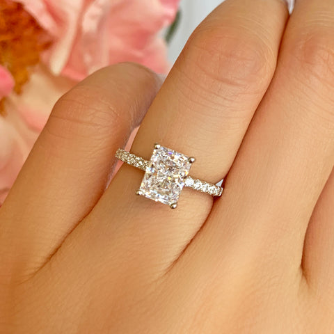 2 ctw Radiant Accented Solitaire Ring