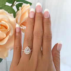 2.5 ctw Pear Halo Ring - Rose GP