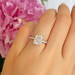 3 ctw Radiant Accented Solitaire Ring - 10k Solid White Gold