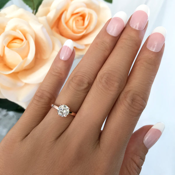 1 Ct Solitaire Engagement Ring Rose Gold Tiger Gems