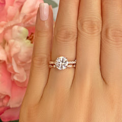 2.25 ctw Round Accented Solitaire Art Deco Set - Rose GP, 40% Final Sale