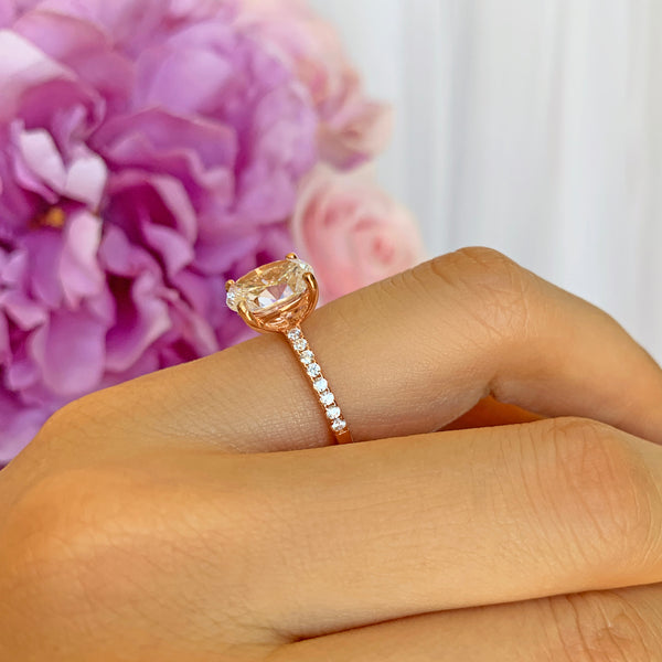 3.25 ctw Oval Accented Ring - Rose GP
