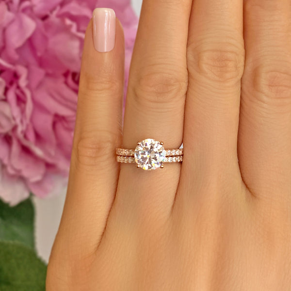 2.25 ctw Round Accented Solitaire Set - Rose GP