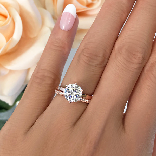 2 ct 6 Prong Stacking Solitaire Set - Rose GP