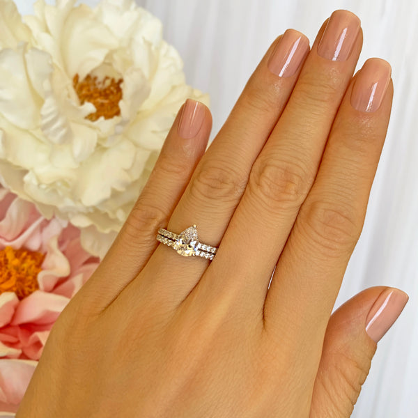 1.5 ctw Pear Accented Solitaire Half Eternity Set