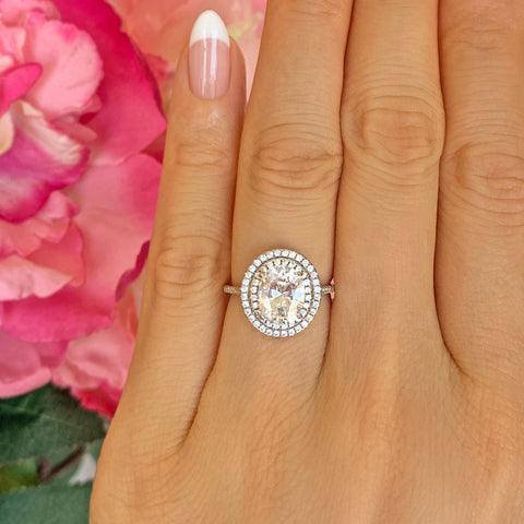 2.5 ctw Round Double Halo Ring, 50% Final Sale