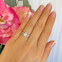 3/4 ctw Art Deco Oval Accented Solitaire Set
