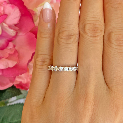 Short Micropave Half Eternity Band, 40% Final Sale, Sz 5-8