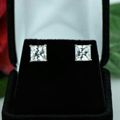 4 ctw Princess Cut Earrings