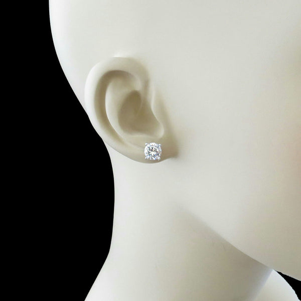 2 ctw 4 Prong Stud Earrings - 10k Solid White Gold, back in stock end of January