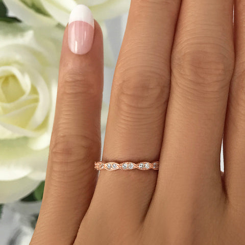 Half Eternity Band - 8k Solid Rose Gold, Sz 5-7