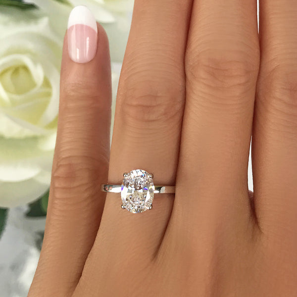 2 ct Oval Solitaire Ring - 10k Solid White Gold