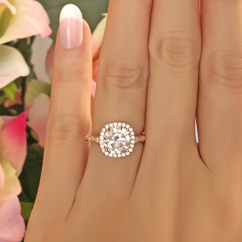 2.25 ctw Art Deco Halo Ring - Rose GP