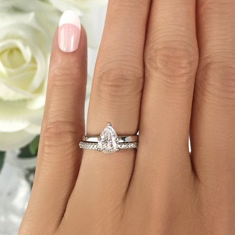 3.25 ctw Pear Accented Solitaire Ring - 10k Solid White Gold