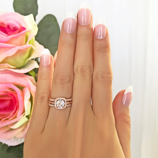 1.25 ctw Art Deco Halo 3 Band Half Eternity Set - Rose GP, 40% Final Sale