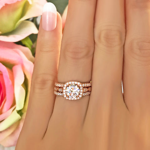 1.25 ctw Round Accented Art Deco Solitaire Set - Rose GP