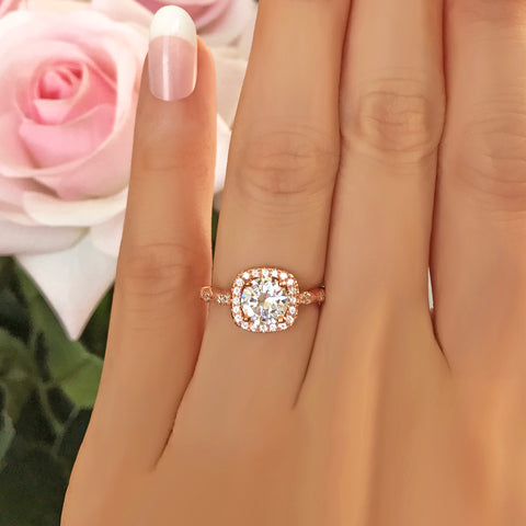 1 ctw Oval Double Halo Ring