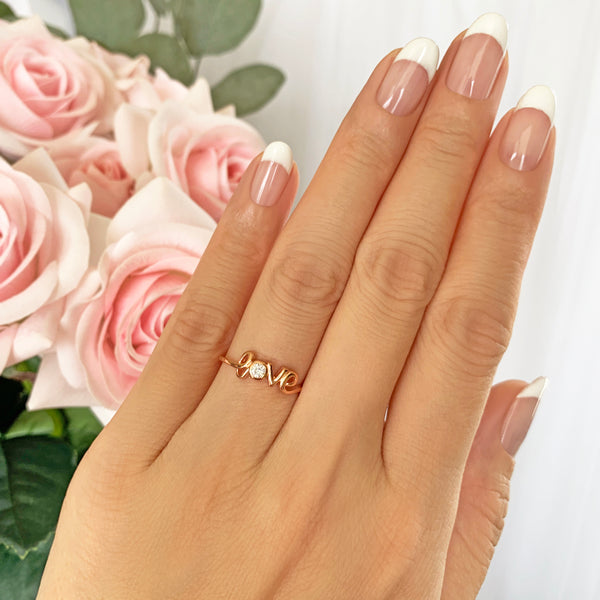 .1 ct Cursive Love Ring - Rose GP - 40% Final Sale
